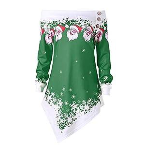 ZODOF Ropa de Navidad Mujeres Feliz Navidad Tallas Grandes Impresas Remiendo del cordón asimétrica Tops más el tamaño del suéter Deer Elk Camiseta Estampada para el Cuello Oblicuo Fuera del Hombro