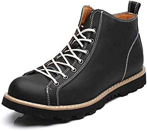 Herrenmode Casual High Ankle Stiefel Top Plain Farbe Round Top Waterproof Martin Stiefel (Farbe   Schwarz Größe   41 EU) (Farbe   Schwarz Größe   43 EU)