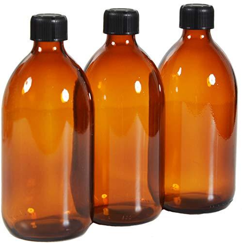 6 x flacons vides en Verre ambré avec Bouchon - Contenance 500 ML - FL96