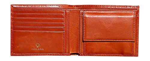 Cronus & Rhea Geldbörse mit Münzfach aus exklusivem Leder (Plutus) | Geldbeutel - Brieftasche - Portemonnaie - Geldklammer | Echtleder | Mit eleganter Geschenkbox | Herren (Cognac)