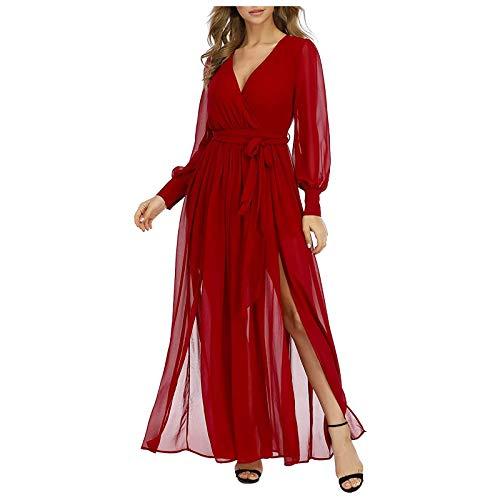 Janly Clearance Sale Vestido para mujer, estilo vintage, bohemio, cuello en V, manga abombada, cintura alta, vestido largo, elegante, para el día de San Patricio, Pascua (Rojo-XL)