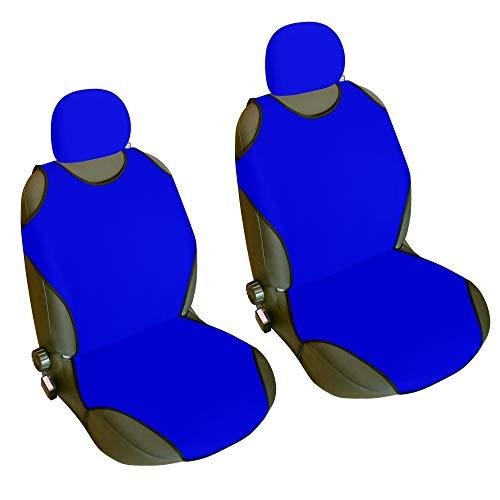 CSC402 -Funda para asiento de coche con forma de camiseta, Cojín para asiento de coche, Funda Cubierta Protector Asiento de coche, respaldo asiento Azul (1 par)