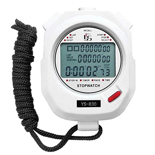 LYDBM Cronómetro Digital Resistente al Agua cronógrafo Temporizador multifunción portátil al Aire Libre Handheld Alarma Operando Formación Cronómetro Deportes (Color : Blanco)