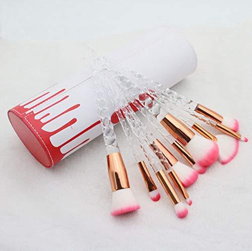 10 fibre rouge cheveux transparent poignée maquillage brosse ensemble, outils de maquillage, brosse baril de stockage et portable