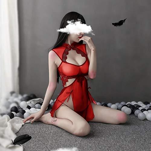 YINSHENG Mujer traviesa Cosplay Anime Anime Ver a través de Traje de mucama Vestido Vintage Cheongsam para Mujer Cosplay Ropa cachonda Noche romántica Hacer Feliz a la Gente Disfraz Ropa in