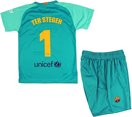 FCB Conjunto Camiseta y Pantalón Primera Equipación Infantil TER Stegen del FC Barcelona Producto Oficial Licenciado Temporada 2019-2020 Color Verde (Verde, Talla 10)