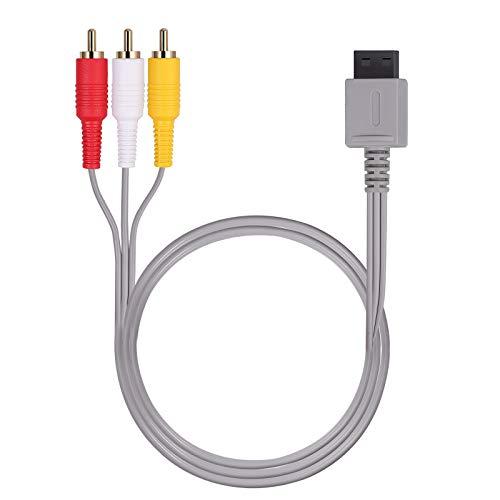AUTOUTLET Cable AV para Wii / Wii U, Cable Estándar AV de Audio y Video, 1.8m 6 Pies Composite Retro 3 RCA Chapado en Oro para Nintendo Wii Wii U, la Consola de Juegos Wii