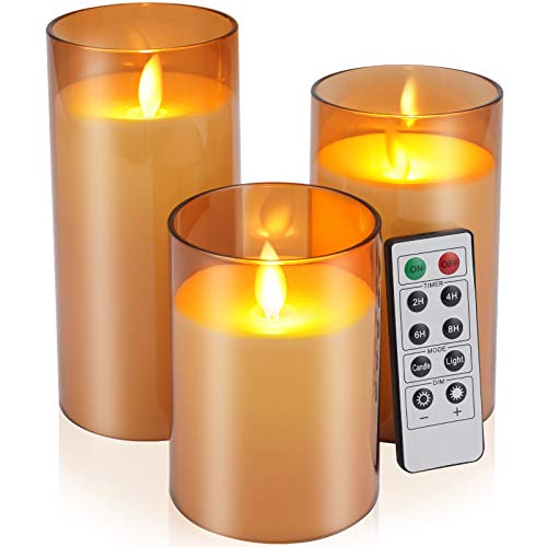 """Flickering Flameless Candles Battery Operated Candles Imitation glass Candles with Remote Acrylic Cycling Timer 24 Hours Pack of 3(D:3""""x H:4""""5""""6"""")LED Candles Large Pillar Candles(Dark Brown)"""