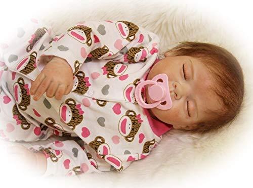 22pulgadas 55cm muñecas Reborn Bebes niñas Silicona Verdadero Baby Dolls Girls Realista Toddler Recien Nacidos Dorm Originales Ojos Cerrados Nino