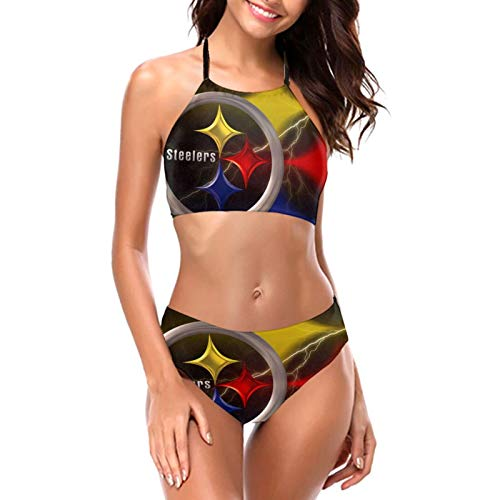 Pittsburgh Steeler Sports Style Women's Sexy Padded Push Up Bikini Set Halter Bathing Suits Two Pieces Swimsuit Swimwear Medium