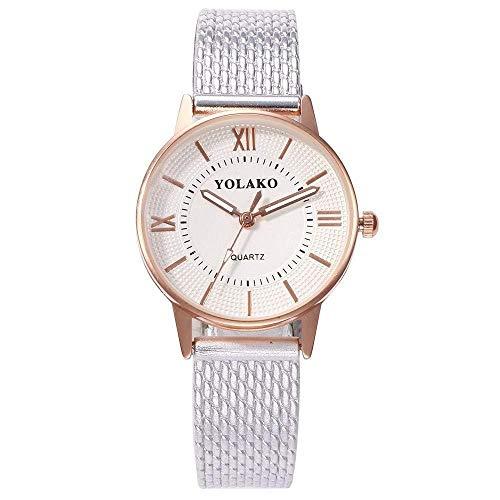 Uhren Damenuhren Watches Armbanduhren WatchMode Frauen Dressladies Kunststoff Leder Quarzuhr Clock-Silber