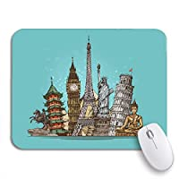 ECOMAOMI 可愛いマウスパッド カラフルなエッフェル旅行の旅有名な世界のランドマークスケッチリバティノンスリップラバーバッキングコンピュータマウスパッド用ノートブックマウスマット