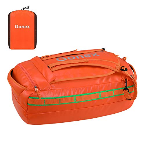 Gonex 40L Water Repellent Duffel Bag Backpack Outdoor Heavy Duty Duffle Bag with backpack straps for Hiking Camping Travelling Cycling for Men Women Orange