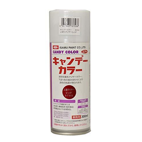 新色!イサム キャンディーカラー エアゾール 300ml / 3753 レッド キャンディ 塗料 スプレー ウレタン塗料