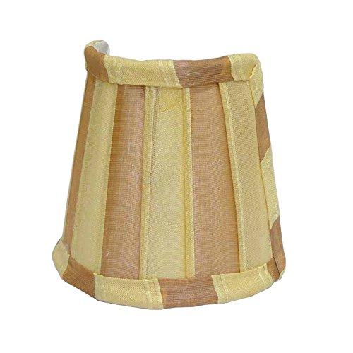 Better & Best 0213104 – lampenkap van zijde, met halve maan, tabel klein, 12 x 6,50 x 10 cm, gestreept geel en bruin