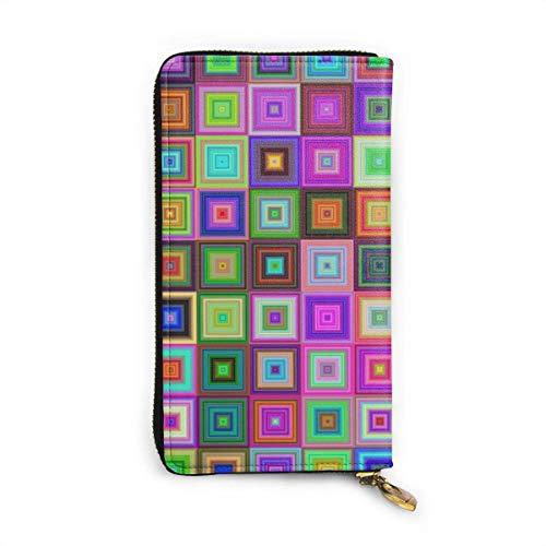 JHGFG Mosaic Geometric Abstract Fliesen Echtes Leder Geldbörse Lange Damen Geldbörse Handtasche Multi Kartenhalter Organizer Für Frauen Personalisiert