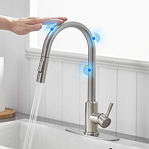 OWOFAN Touch On Kitchen Faucets with Pull Down Sprayer, Single Handle Kitchen Sink Faucet with Pull Out Sprayer, Stainless Steel Touch Activated Faucet Brushed Nickel