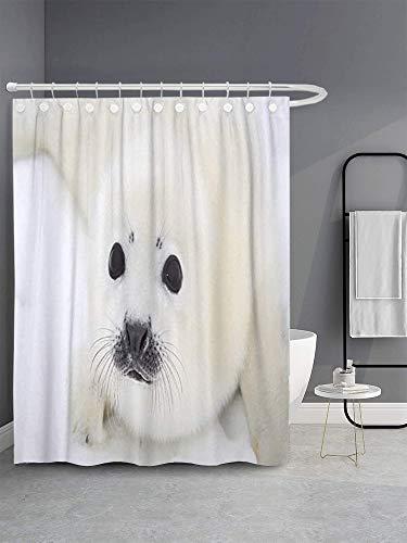 N \ A Baby Harp Seal Pup on Ice of The White - Cortina de ducha para baño (152,4 x 182,8 cm)