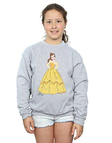 Disney Mädchen Princesses Classic Belle Sweatshirt 7-8 Years Sport Grey