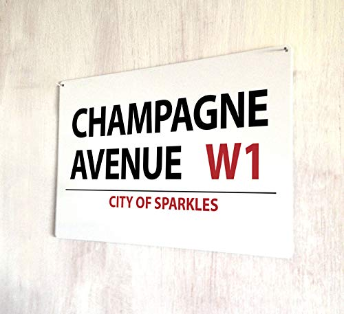 HNNT CHAMPAGNE AVENUE DRINKS COCKTAILS STREET SIGN METAAL PLAQUE METAAL STREET SIGN 8X12 inch