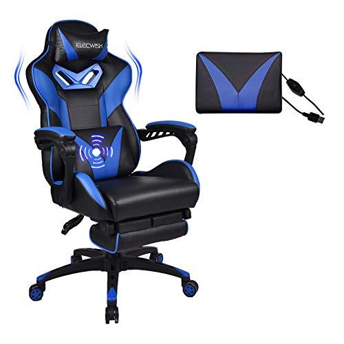 YU YUSING Massage Gaming Stuhl Bürostuhl Ergonomisch Sportsitz höhenverstellbar Computerstuhl Chefsessel Schreibtischstuhl mit Kopfstützen, verstellbaren Armlehnen und Fußstützen (Blau)