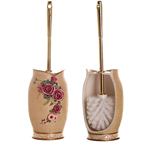 Glarcy Toilet Bowl Brush and Holder - Strong Bristled Cleaner Brush with Holder - Luxury Hand Painted Toilet Decor
