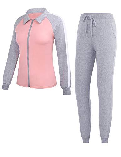 Doaraha Chándal para Mujer 2 Piezas Casual Raya Conjuntos Deportivos Completo Chaquetas Deportivas + Pantalones Largos para Primavera Otoño Invierno