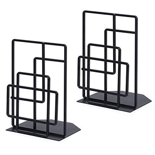 SRIWATANA Book Ends Heavy Duty, Decorative Black Bookends for Shelves, Window Lattice Design