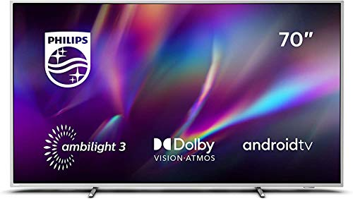 Philips Televisor Ambilight 70PUS8505/12, Smart TV de 70 pulgadas (4K UHD, P5 Perfect Picture Engine, Dolby Vision, Dolby Atmos, Control de voz, Android TV), Color plata claro (modelo de 2020/2021)