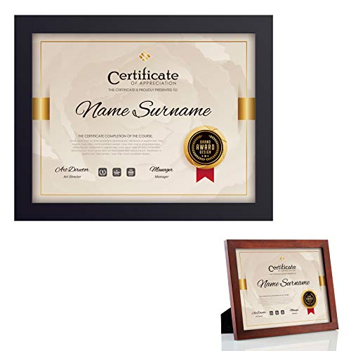 RPJC 2 pcs Sets Solid Wood Document Frames Display Certificate 8.5x11 inch Brown and 8.5x11 inch Black