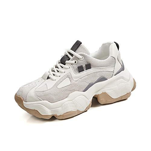 Vrouwen Schoenen 2019 Nieuwe Chunky Sneakers voor Dames Schoenen Casual Mode Schoenen Platform Sneakers Mand 38 Beige