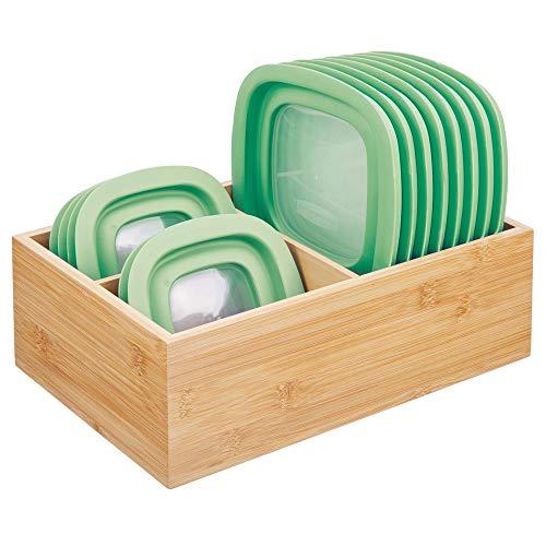 mDesign Deckelhalter – praktischer Küchen Aufbewahrungskorb mit drei Fächern zur Aufbewahrung von Deckeln – moderner Küchen Organizer für die Speisekammer – naturfarben