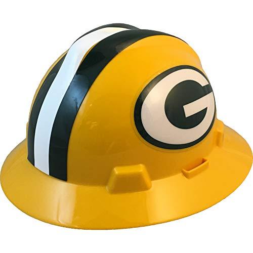 "MSA 10194753 NFL V-Gard Full Brim Hard Hat, Green Bay Packers, Standard (61 ⁄2 – 8"")"