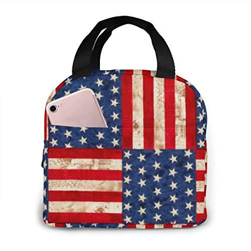 Hdadwy Bolsa de almuerzo portátil con bandera americana creativa, fácil limpieza, resistente al agua, enfriador de almuerzo, con aislamiento, caja de asas para viajes/picnic/trabajo Tamaño: 8.5 'x