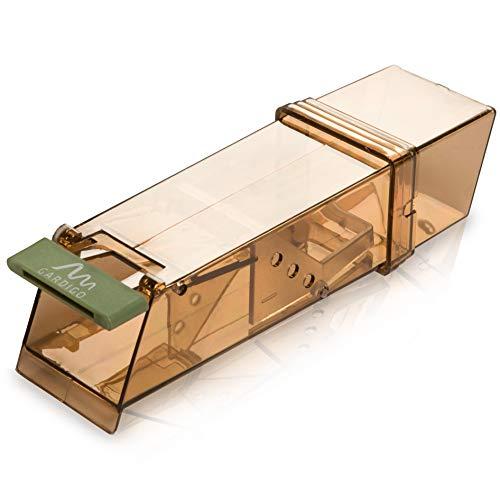 Gardigo 62358 - Souricière Souris; Piège à Souris Vivants; Humain et Réutilisable; Mouse Trap Intelligent; pour Intérieur et Extérieur; 18 x 6 x 5 cm