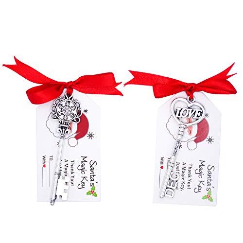 Makhry Blandad 24 Vintage Skelett Nyckel Santa Magi Nycklar med Santa Taggar och Band för Jul Dekoration Träd Dekor(Antikt Silver)