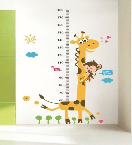 Instylewall murale da parete in vinile crescita record altezza grafico Giraffe Kids nursery Room Wall Art Decal Paper