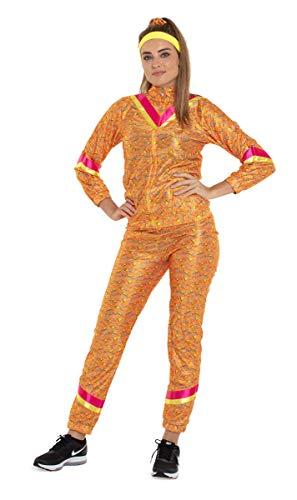 Folat 64506 oranjekleurige jaren 80 trainingspak volwassenen maat S-M, dames, multi-color