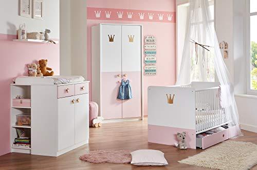 Babyzimmer Cindy 7 teilig in Weiß und Rosé von Wimex Megaset mit Schrank, Bett mit Lattenrost, Umbauseiten und Bettschubkasten, Wickelkommode mit Seitenregal, Wandboard