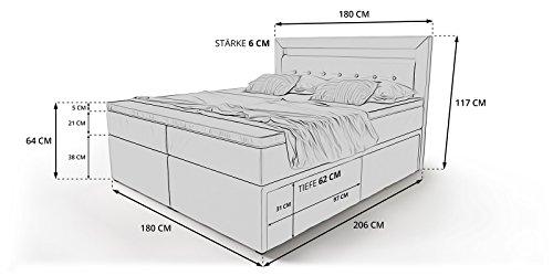 Box Bett Doppelbett Hotelbett Delia mit Bettkasten Schubkasten LED Kunstleder weiß 160 180×200 Ehebett Bonellfederkern Topper (180 x 200 cm) - 3