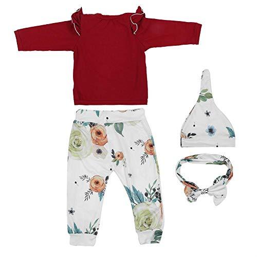 Trainingspak baby meisjes kleding rood bedrukt zachte katoen mouwen sweatshirt baby pak overhemd broek bovenaan outfits joggingpak met hoofddoek hoed 80