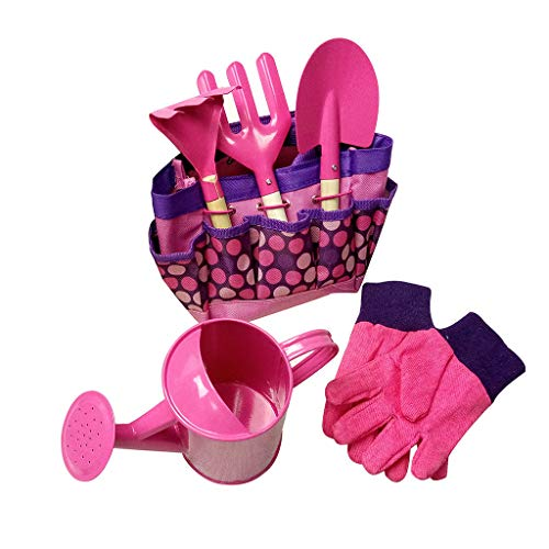 Gardening Tool Set for Kids, Sacow Small Transplant Hand Tools Toys with Carry Bag (Pink)