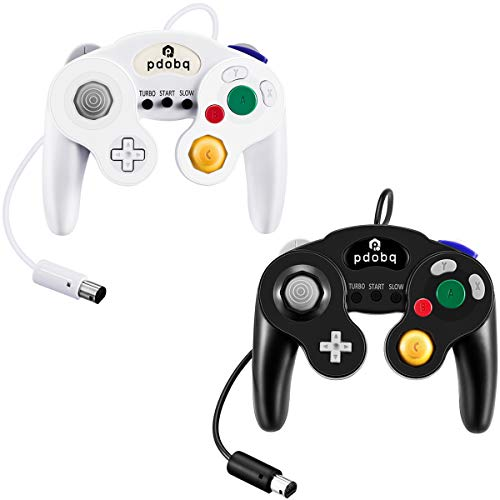 pdobq Wired Controller for Nintendo Switch and Gamecube and Wii and Wiiu and PC, 2 Pack Classic Wired pdobq Controller for Gamecube and Super Smash Bros with Turbo Features