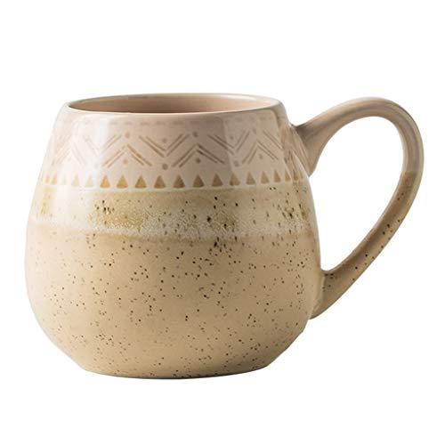 Antike Becher, Hochtemperatur-Keramik, blei- und cadmiumfrei, Nostalgic Trinkgefäße, for Hot Coffee Dessert, Gelb, 500 ml