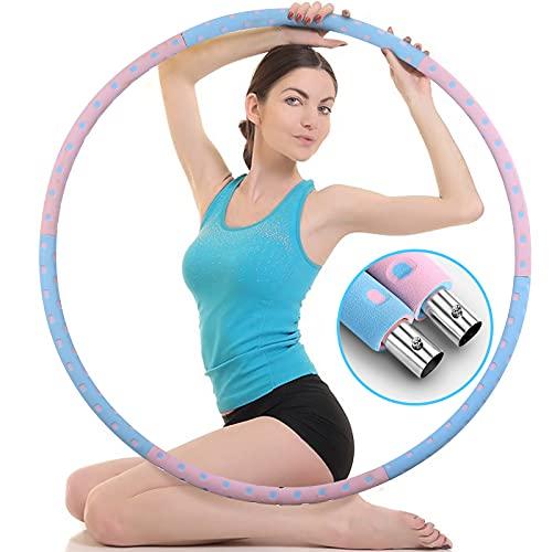 MEKOMONA Aro de hula para adultos, de acero inoxidable, para fitness, pérdida de peso, desmontable y estable