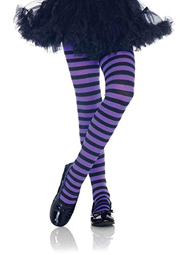 Leg Avenue Girls Black and Purple Striped Tights XL