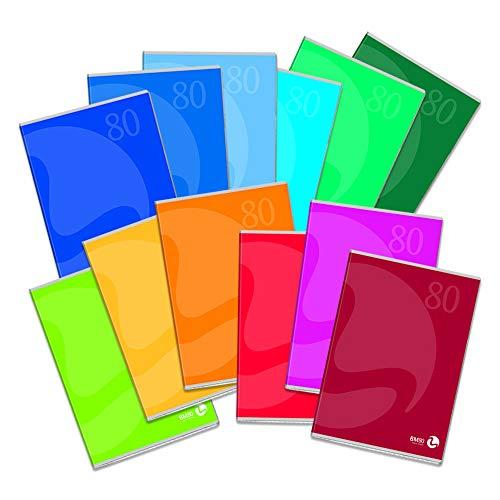 BM BeMore Color 80, 0110599, Quaderno Formato A5, Rigatura 1R, Righe senza Margini, Carta 80g/mq, Colori Assortiti, Confezione 12 pezzi
