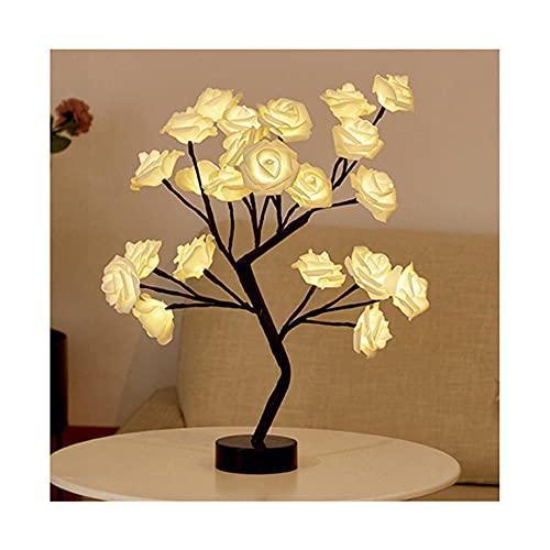 Lámpara de Escritorio Niña, Mesa LED Rose Flower Tree USB Night Lights, Cambio Color, Navidad/Fiesta/Festival/Boda/DíA De San ValentíN Regalo Para NiñAs Esposa Mamá, Decoración-blanco_36 * 26 * 6cm