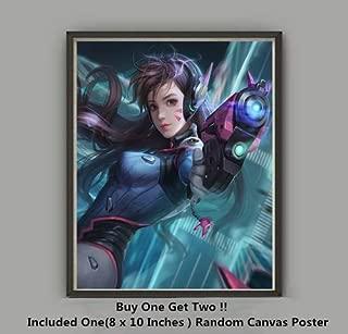 QG Art Sweet Heart Game Fighter D.va Art Prints Canvas Poster for Home Decoration,No Frame