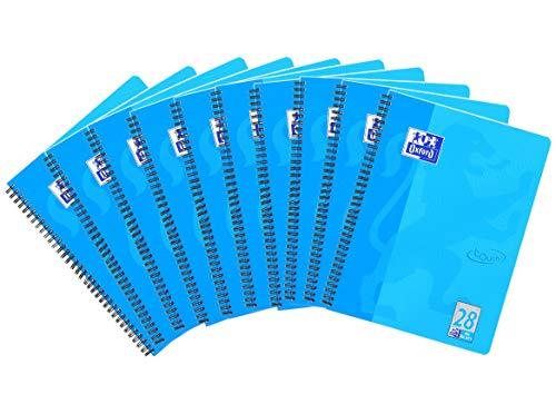 Oxford Touch Collegeblock A4, kariert, 80 Blatt, blau, 10er Pack